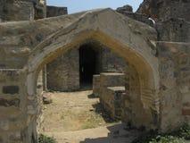 Руины свода Хайдарабада, Индии - 1-ое января 2009 каменные форта Golconda Стоковое фото RF