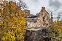 Руины средневекового замка в Sigulda Стоковые Изображения RF