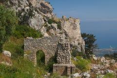 Руины средневекового замка Kantara, северного Кипра Стоковое Изображение RF