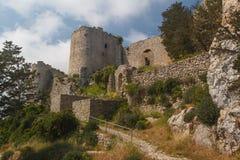 Руины средневекового замка Kantara, северного Кипра Стоковые Изображения RF