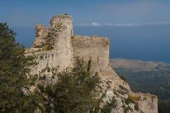 Руины средневекового замка Kantara, северного Кипра Стоковая Фотография RF