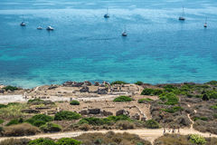 Руины старого города Tharros в Сардинии стоковое фото rf