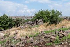 Руины старого Еврейского урегулирования Umm el Kanatir - будьте матерью сводов на Голанских высотах Стоковое Изображение RF