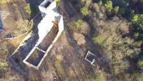 Руины старого замка от воздуха видеоматериал