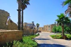 Руины старого римского города Caesarea Израиль стоковое фото