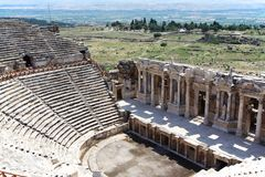 Руины старого театра в Hierapolis, Турции Стоковое Фото