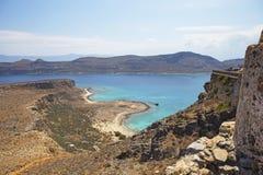 Руины старого форта на полуострове Gramvousa, острове Крита в Греции Стоковые Изображения RF