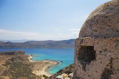 Руины старого форта на полуострове Gramvousa, острове Крита в Греции Стоковые Изображения