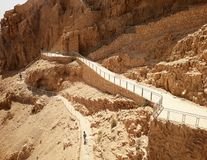 Руины старого Masada на юге Израиля Палец ноги дороги северный дворец стоковое изображение