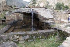 Руины старой цитадели Inkas на горе, Pisac, Перу стоковая фотография rf