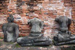Руины статуй Будды в виске Wat Mahathat, Ayutthaya Histori Стоковое Фото