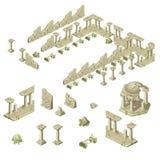 Руины стен, столбцов и газебо города иллюстрация штока