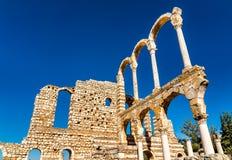 Руины цитадели Umayyad на Anjar Beqaa Valley, Ливан стоковое изображение rf