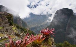 Руины Inca Machu Picchu в облаке Стоковая Фотография RF