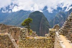 Руины Inca Machu Picchu в облаке Стоковые Фотографии RF