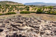 Руины Nuragic археологических раскопок Barumini в Сардинии Стоковые Фотографии RF