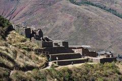 Руины Pisac в Перу Стоковая Фотография