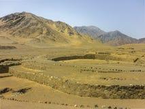 Руины Supe цивилизации города Caral старые Стоковое фото RF