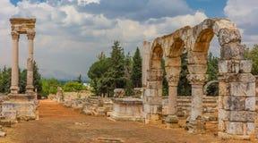 Руины Umayyad Aanjar Anjar Beeka Ливана стоковое изображение