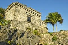 Руины Viento del Templo del Dios майяские Ruinas de Tulum (руин Tulum) в Quintana Roo, полуострове Юкатан, Мексике Стоковые Фотографии RF