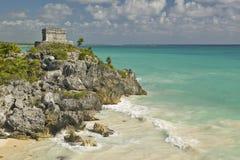 Руины Viento del Templo del Dios майяские Ruinas de Tulum (руин Tulum) в Quintana Roo, полуострове Юкатан, Мексике Стоковое фото RF