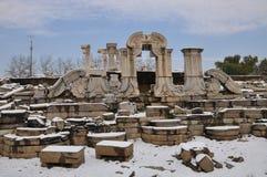 Руины Yuanmingyuan в снеге Стоковое Изображение