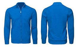 Рукав голубой фуфайки пустых людей шаблона длинный, фронт и задний взгляд, белая предпосылка Модель-макет пуловера дизайна для пе Стоковая Фотография RF