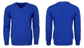 Рукав голубой фуфайки пустых людей шаблона длинный, фронт и задний взгляд, белая предпосылка Модель-макет пуловера дизайна для пе Стоковое Изображение RF