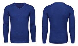Рукав голубой фуфайки пустых людей шаблона длинный, фронт и задний взгляд, белая предпосылка Модель-макет пуловера дизайна для пе Стоковые Изображения RF