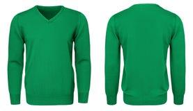 Рукав зеленой фуфайки пустых людей шаблона длинный, фронт и задний взгляд, белая предпосылка Модель-макет пуловера дизайна для пе Стоковые Изображения RF
