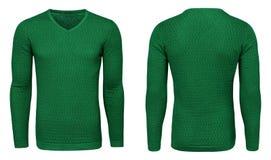 Рукав зеленой фуфайки пустых людей шаблона длинный, фронт и задний взгляд, белая предпосылка Модель-макет пуловера дизайна для пе Стоковые Изображения