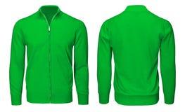 Рукав зеленой фуфайки пустых людей шаблона длинный, фронт и задний взгляд, белая предпосылка Модель-макет пуловера дизайна для пе Стоковая Фотография RF