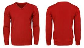 Рукав красной фуфайки пустых людей шаблона длинный, фронт и задний взгляд, белая предпосылка Модель-макет пуловера дизайна для пе Стоковые Фото