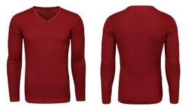 Рукав красной фуфайки пустых людей шаблона длинный, фронт и задний взгляд, белая предпосылка Модель-макет пуловера дизайна для пе Стоковые Фотографии RF