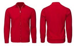 Рукав красной фуфайки пустых людей шаблона длинный, фронт и задний взгляд, белая предпосылка Модель-макет пуловера дизайна для пе Стоковое Изображение RF