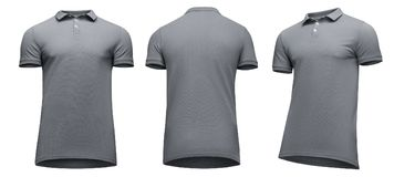 Рукав краткости рубашки поло пустых людей шаблона серый, фронт и поворот заднего взгляда половинный вверх ногами, изолированный н Стоковые Фотографии RF