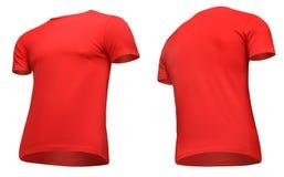 Рукав краткости футболки пустых людей шаблона красный, фронт и поворот заднего взгляда половинный вверх ногами, изолированный на  Стоковые Фотографии RF