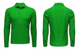 Рукав рубашки поло пустых людей шаблона зеленый длинный, фронт и задний взгляд, белая предпосылка Модель-макет фуфайки дизайна дл Стоковое фото RF