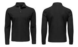 Рукав рубашки поло пустых людей шаблона черный длинный, фронт и задний взгляд, белая предпосылка Модель-макет фуфайки дизайна для Стоковое Изображение RF