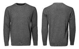 Рукав серой фуфайки пустых людей шаблона длинный, фронт и задний взгляд, белая предпосылка Модель-макет пуловера дизайна для печа Стоковое фото RF