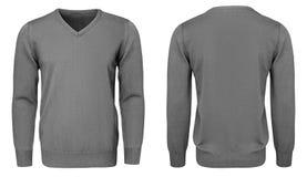 Рукав серой фуфайки пустых людей шаблона длинный, фронт и задний взгляд, белая предпосылка Модель-макет пуловера дизайна для печа Стоковые Изображения