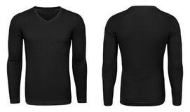 Рукав черной фуфайки пустых людей шаблона длинный, фронт и задний взгляд, белая предпосылка Модель-макет пуловера дизайна для печ Стоковые Изображения