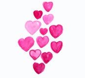 Рука акварели крася красное сердце Стоковое Изображение