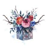 Рука акварели покрасила деревянную коробку с цветками, красными розами, волей иллюстрация штока
