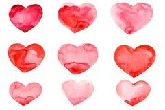 Рука акварели дня ` s валентинки крася красное сердце Стоковая Фотография