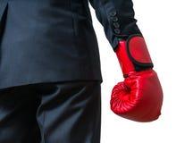 Рука бизнесмена бокса белизна изолированная предпосылкой Стоковые Фотографии RF