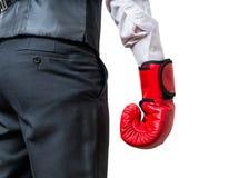 Рука бизнесмена бокса белизна изолированная предпосылкой Стоковые Изображения RF