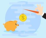 Рука бизнесмена завлекает копилку свиньи на монетке на строке Плоский стиль Стоковое фото RF