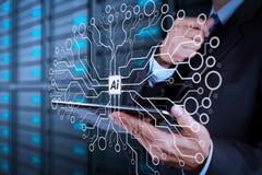 Рука бизнесмена используя комнату компьютера и сервера таблетки иллюстрация штока