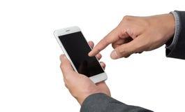 Рука бизнесмена используя телефон Стоковое Изображение
